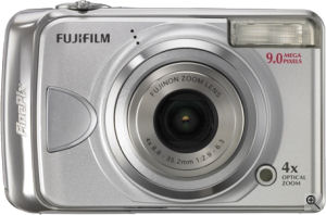 Fujifilm's FinePix A920 digital camera. Courtesy of Fujifilm, with modifications by Michael R. Tomkins. Click for a bigger picture!