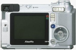 Fujifilm's FinePix E500 digital camera. Courtesy of Fujifilm, with modifications by Michael R. Tomkins. Click for a bigger picture!