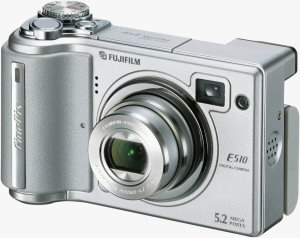 Fujifilm's FinePix E510 digital camera. Courtesy of Fujifilm, with modifications by Michael R. Tomkins. Click for a bigger picture!