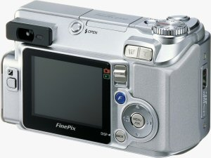 Fujifilm's FinePix E550 digital camera. Courtesy of Fujifilm, with modifications by Michael R. Tomkins. Click for a bigger picture!