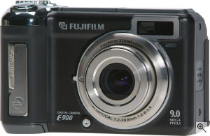 Fujifilm's FinePix E900 digital camera. Courtesy of Fujifilm, with modifications by Michael R. Tomkins. Click for a bigger picture!