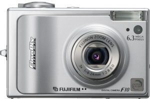 Fujifilm's FinePix F10 digital camera. Courtesy of Fujifilm, with modifications by Michael R. Tomkins. Click for a bigger picture!