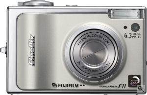 Fujifilm's FinePix F11 Zoom digital camera. Courtesy of Fujifilm, with modifications by Michael R. Tomkins. Click for a bigger picture!
