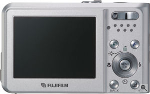 Fujifilm's FinePix F30 digital camera. Courtesy of Fujifilm, with modificatioms by Michael R. Tomkins. Click for a bigger picture!