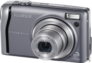 Fujifilm's FinePix F40fd digital camera. Courtesy of Fujifilm, with modifications by Michael R. Tomkins. Click for a bigger picture!