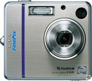 Fujifilm's FinePix F420 Zoom digital camera. Courtesy of Fujifilm UK, with modifications by Michael R. Tomkins. Click for a bigger picture!