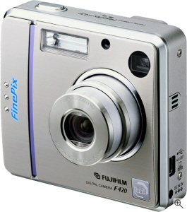 Fujifilm's FinePix F420 Zoom digital camera. Courtesy of Fujifilm Japan, with modifications by Michael R. Tomkins. Click for a bigger picture!