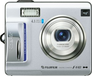 Fujifilm's FinePix F440 digital camera. Courtesy of Fujifilm, with modifications by Michael R. Tomkins. Click for a bigger picture!