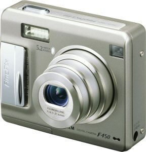 Fujifilm's FinePix F450 digital camera. Courtesy of Fujifilm, with modifications by Michael R. Tomkins. Click for a bigger picture!