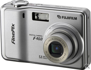 Fujifilm's FinePix F460 digital camera. Courtesy of Fujifilm, with modifications by Michael R. Tomkins. Click for a bigger picture!