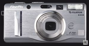 Fuji's FinePix F700 digital camera. Courtesy of Fuji, with modifications by Michael R. Tomkins. Click for a bigger picture!