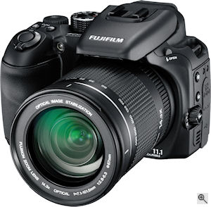 Fujifilm's FinePix S100FS digital camera. Courtesy of Fujifilm, with modifications by Michael R. Tomkins. Click for a bigger picture!