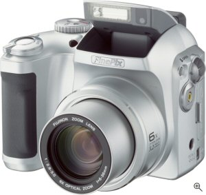 Fujifilm's FinePix S3000 digital camera. Courtesy of Fujifilm Photo Film USA Inc., with modifications by Michael R. Tomkins.