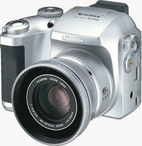 Fujifilm's FinePix S3100 digital camera. Courtesy of Fujifilm, with modifications by Michael R. Tomkins. Click for a bigger picture!