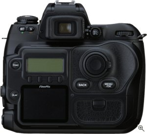 Fujifilm's FinePix S3 Pro digital SLR. Courtesy of Fujifilm, with modifications by Michael R. Tomkins. Click for a bigger picture!