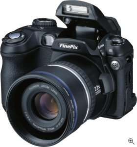 Fuji's FinePix S5000 digital camera. Courtesy of Fuji, with modifications by Michael R. Tomkins. Click for a bigger picture!