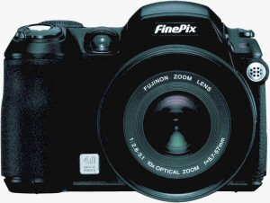 Fujifilm's FinePix S5100 digital camera. Courtesy of Fujifilm, with modifications by Michael R. Tomkins. Click for a bigger picture!