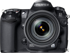 Fujifilm's FinePix S5 Pro digital SLR. Courtesy of Fujifilm, with modifications by Michael R. Tomkins. Click for a bigger picture!
