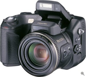 Fuji's FinePix S7000 digital camera. Courtesy of Fuji, with modifications by Michael R. Tomkins. Click for a bigger picture!