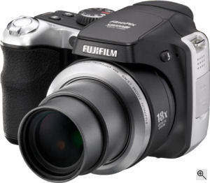 Fujifilm's FinePix S8000fd digital camera. Courtesy of Fujifilm, with modifications by Michael R. Tomkins. Click for a bigger picture!