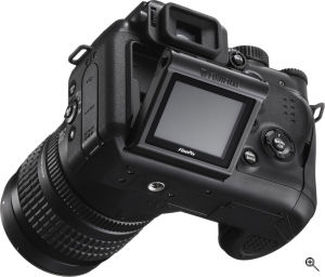 Fujifilm's FinePix S9000 digital camera. Courtesy of Fujifilm, with modifications by Michael R. Tomkins. Click for a bigger picture!