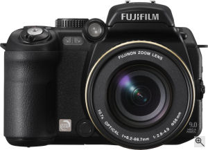 Fujifilm's FinePix S9100 digital camera. Courtesy of Fujifilm, with modifications by Michael R. Tomkins. Click for a bigger picture!