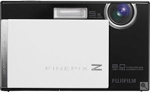 Fujifilm's FinePix Z100fd digital camera. Courtesy of Fujifilm, with modifications by Michael R. Tomkins. Click for a bigger picture!