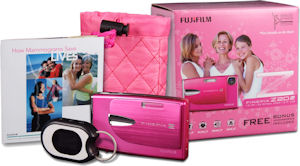 Fujifilm's FinePix Z20fd Breast Cancer Awareness bundle. Courtesy of Fujifilm, with modifications by Michael R. Tomkins. Click for a bigger picture!