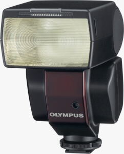 Olympus' FL-36 flash strobe. Courtesy of Olympus, with modifications by Michael R. Tomkins. Click for a bigger picture!