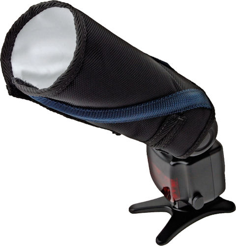 The Rogue FlashBender Small Positionable Reflector, rolled up to act as a snoot. Photo provided by ExpoImaging Inc. Click for a bigger picture!