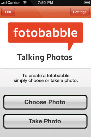 Fotobabble's iPhone app can work with an existing image, or capture one with the built-in camera. Screenshot provided by Fotobabble Inc.