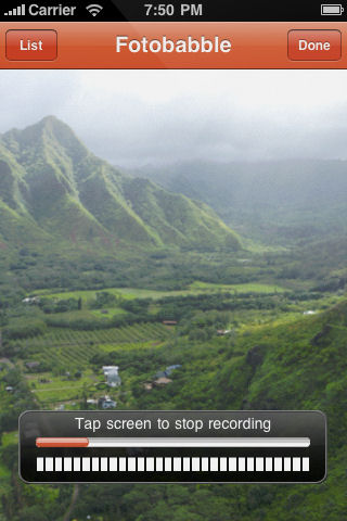 Recording a Fotobabble audio attachment. Screenshot provided by Fotobabble Inc.