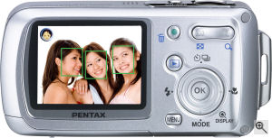 Pentax digital camera featuring FotoNation Face Tracker technology. Courtesy of FotoNation, with modifications by Michael R. Tomkins. Click for a bigger picture!