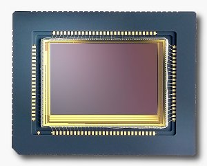 Foveon's  F7 X3-type image sensor. Courtesy of Foveon, with modifications by Michael R. Tomkins.