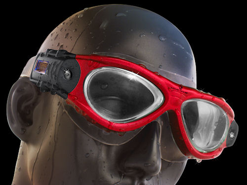 The Freestyle-series Swim Camera Goggle is available in red, black or blue versions. Photo provided by Liquid Image Co. LLC. Click for a bigger picture!