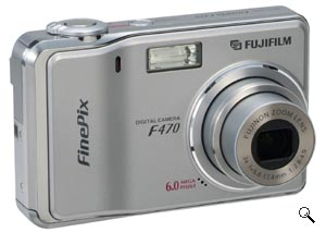 Fujifilm's FinePix F470 digital camera. Courtesy of Fujifilm, with modifications by Michael R. Tomkins. Click for a bigger picture!