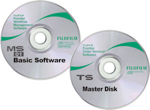 Fujifilm's MS workflow management software and TS print order terminal software CDs. Courtesy of Fujifilm, with modifications by Michael R. Tomkins. Click for a bigger picture!