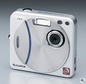 Fuji's FinePix F402 digital camera. Courtesy of Fuji Photo Film U.S.A. Inc., with modifications by Michael R. Tomkins. Click for a bigger picture!