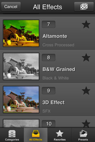 Browsing effect types in FX Photo Studio 4.0. Screenshot provided by MacPhun LLC.