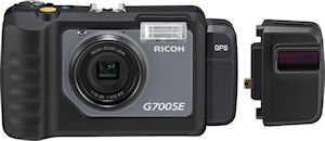 Ricoh's G700SE digital camera, shown with GP-1 GPS unit attached, and BR-1 laser barcode reader adjacent. Photo provided by Ricoh Co. Ltd. Click for a bigger picture!