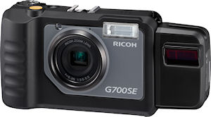 Ricoh's G700SE digital camera, shown with BR-1 laser barcode reader attached. Photo provided by Ricoh Co. Ltd. Click for a bigger picture!