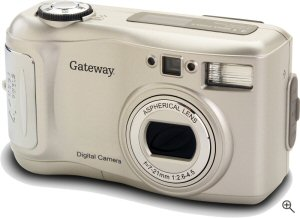 Gateway's DC-M40 digital camera. Courtesy of Gateway, with modifications by Michael R. Tomkins. Click for a bigger picture!