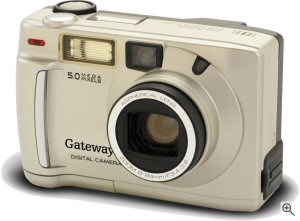 Gateway's DC-M50 digital camera. Courtesy of Gateway, with modifications by Michael R. Tomkins. Click for a bigger picture!
