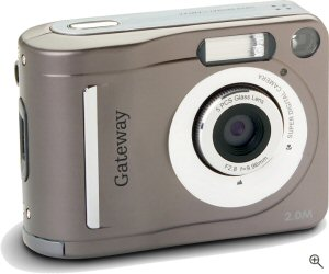 Gateway's DC-T20 digital camera. Courtesy of Gateway, with modifications by Michael R. Tomkins. Click for a bigger picture!