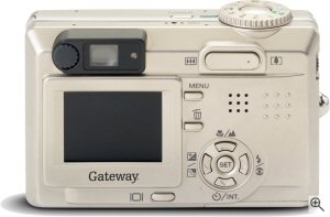 Gateway's DC-T50 digital camera. Courtesy of Gateway, with modifications by Michael R. Tomkins. Click for a bigger picture!