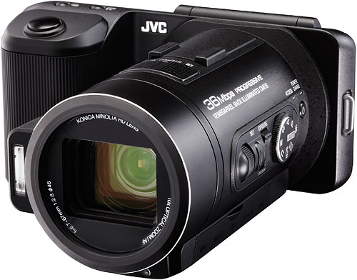 The JVC GC-PX10 hybrid still/video camera. Photo provided by JVC Americas Corp. Click for a bigger picture!