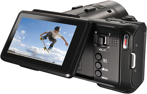The JVC GC-PX10 has a tiltable LCD panel. Photo provided by JVC Americas Corp. Click for a bigger picture!