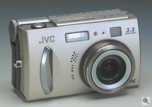 JVC's GC-QX3HD digital camera, front right quarter view. Courtesy of JVC - click for a bigger picture!