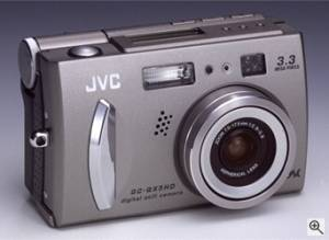JVC's GC-QX5HD digital camera, front right quarter view. Courtesy of JVC - click for a bigger picture!