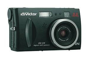 Victor's GC-X3 digital camera, front right quarter view. Courtesy of Victor Co. of Japan Ltd.